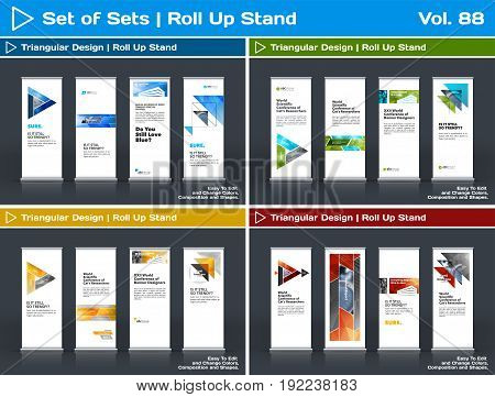 Abstract business vector set of modern roll Up Banner stand design template with colourful triangles, arrows for tech, market, exhibition, show, expo, presentation, parade, events.