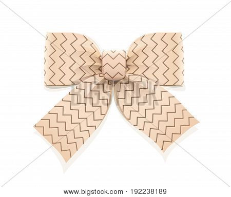 Beige bow. Decorative element for gift. Isolated white background. Vector illustration.