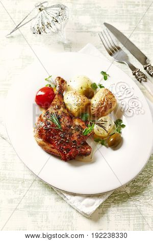 Roast Chicken Leg with Baked Potatoes