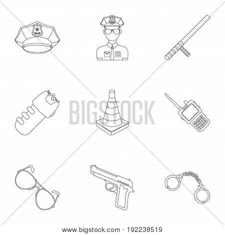 Police equipment, police, prisoners, protection of citizens.Police icon in set collection on outline style vector symbol stock web illustration. poster