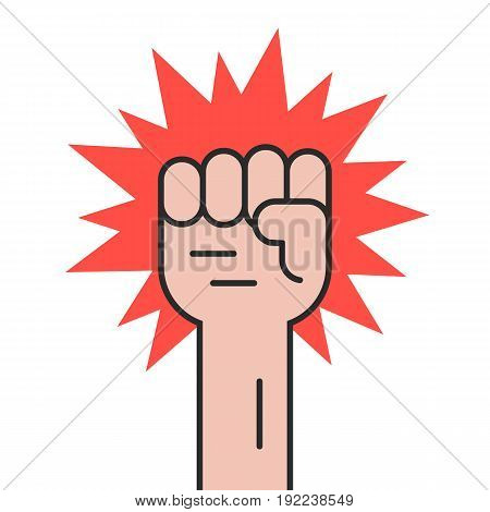 revolution protest with outline hand. concept of communism, socialism, radical, patriotic, solidarity, uprising. isolated on white background. flat style trend modern logo design vector illustration
