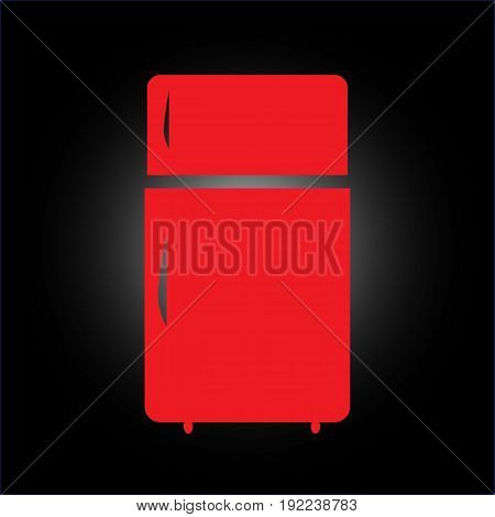 Fridge Icon Illustration Vector Sign Symbol. Red refrigerator on a black background
