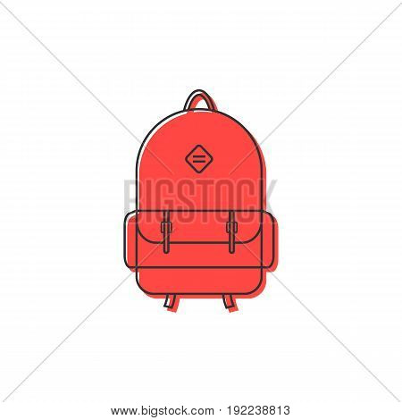 red backpack thin line icon. concept of camping recreation, route, haversack, kids schoolbag, touring. isolated on white background. flat style trend modern logotype design vector illustration