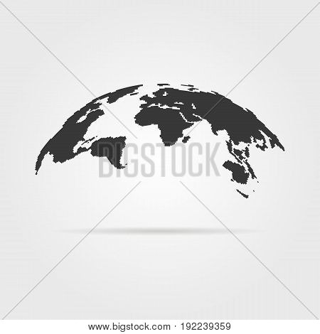 simple world map icon with shadow. concept of infographics element, trip around the world, globalization. isolated on gray background. flat style trend modern logotype design vector illustration