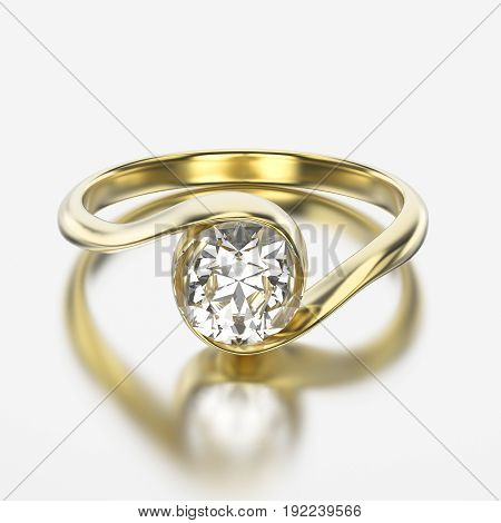 3D illustration yellow gold ring with diamond with reflection on a grey background