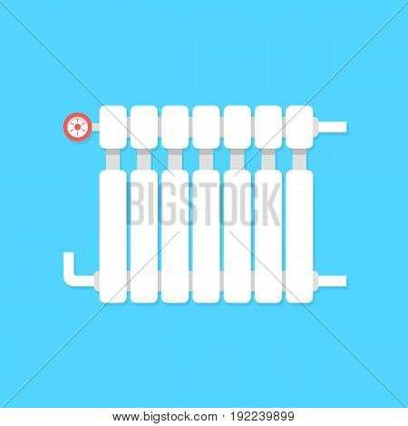 radiator icon with temperature regulation. concept of interior comfort, iron pipe, cozy lodging, power heatsink, cooler. isolated on blue background. flat style trend modern design vector illustration