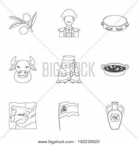 A set of pictures about Spain. Sights of Spain, gypsies, guitar, dances.Spain country icon in set collection on outline style vector symbol stock web illustration.