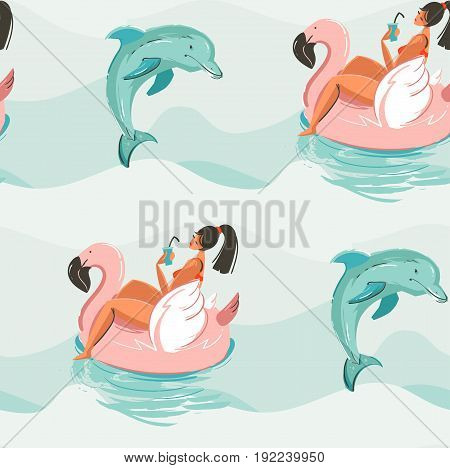 Hand drawn vector abstract cute summer time seamless pattern with beach girl swimming on pink flamingo float circle and dolphins in blue ocean water waves texture background.
