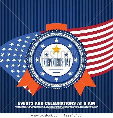 Vector illustration of happy celebration of Independence Day with blue badge with red stripe on the dark blue background with pattern of stars and american flag.