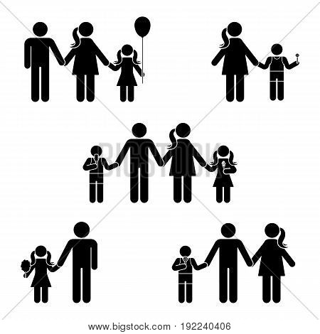 Stick figure family icon set. Posture vector illustration of standing man woman offspring symbol sign pictogram on white