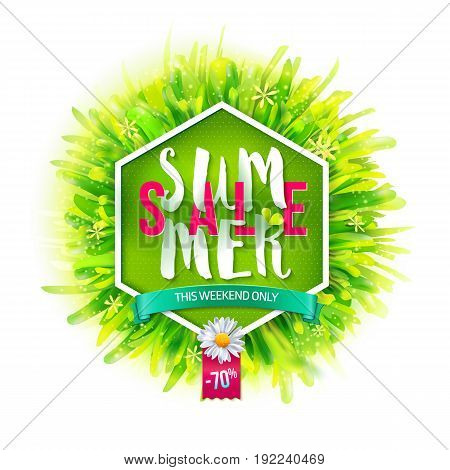 Summer sale label. Geometric background with fresh green grass. Vector illustration. Lettering. Typography sales offer. Best for posters, banners, tag and over advertising.