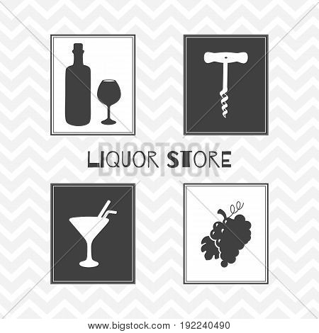 Set of hand drawn silhouettes - wine bottle and glass, grape bunch, cocktail and corkscrew. Liquor - alcohol store or bar posters. Vector illustration