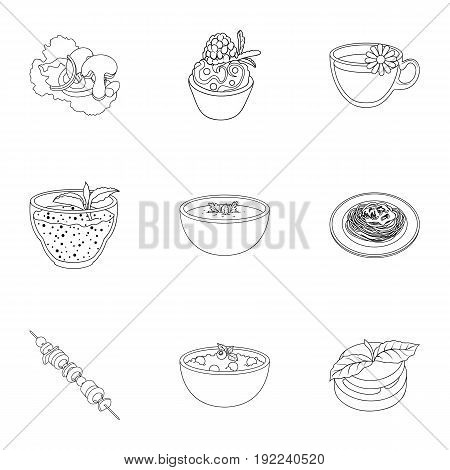 Pictures about vegetarianism. Vegetarian dishes, food vegetarian. Vegetables, fruits, herbs, mushrooms. Vegetarian dishes icon in set collection on outline style vector symbol stock web illustration.