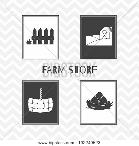 Set of hand drawn silhouettes - wooden fence, straw basket, eggs in nest and farm field with house. Farm market posters. Vector illustration