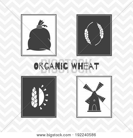 Set of hand drawn silhouettes - wind mill, wheat, sun and flour bag. Wheat - Flour posters. Vector illustration