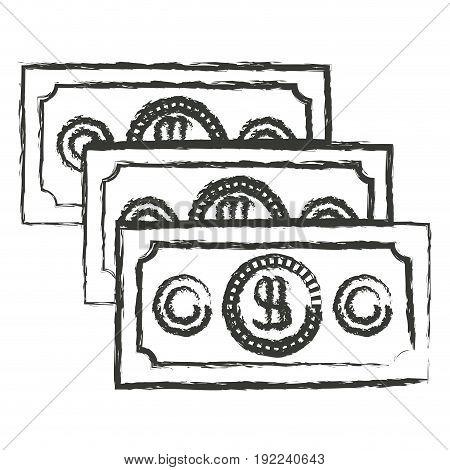 monochrome blurred silhouette of money bills set vector illustration