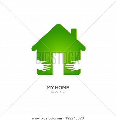 Home Logo Design Template. Vector Illustration. Two hands hug green house icon. Open door with light. Recommended for eco friendly, social oriented projects.