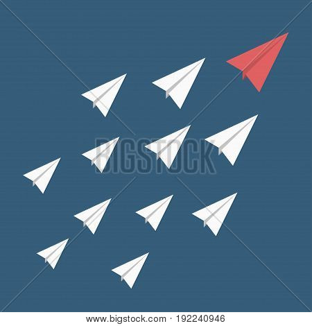 Leadership stand out of the crowd concept. Red paper airplane as a leader among others white. Vector