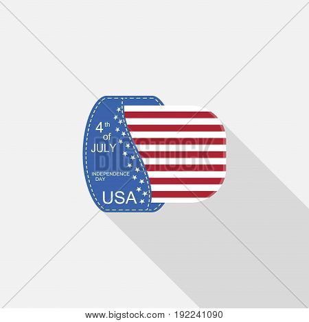 Vector flat label of Independence Day with blue pocket stripe with american flag and long shadow on the light gray background.