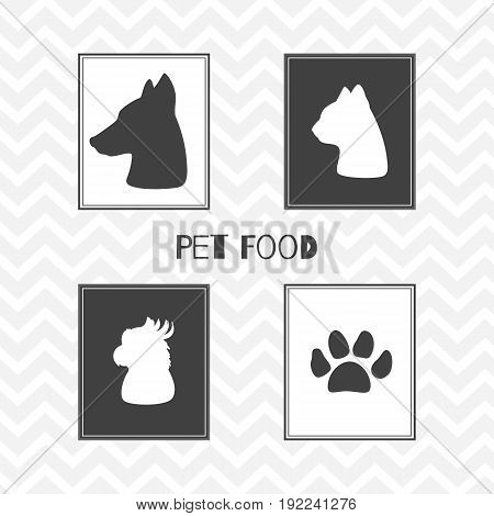 Set of hand drawn silhouettes heads of dog, cat, parrot and paw print. Pet food shop posters. Vector illustration