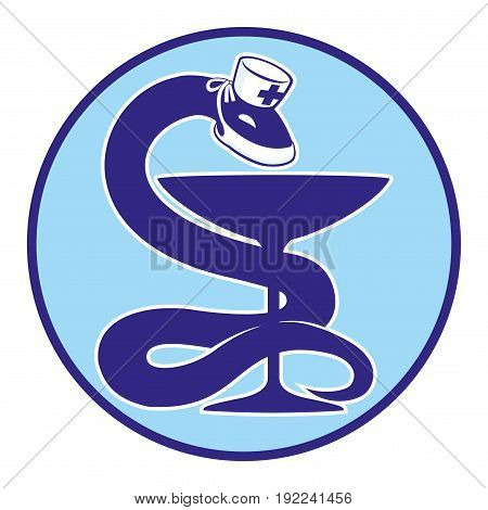 Snake with a cup in a blue icon.