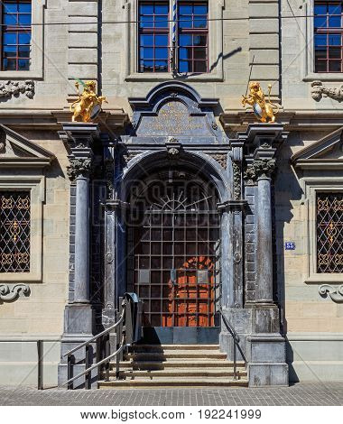 Zurich, Switzerland - 18 June, 2017: entrance to the Rathaus building, closed on Sunday. The Rathaus is Zurich's Town Hall, it was built during 1694-1698, the canton of Zurich owns it since 1803.