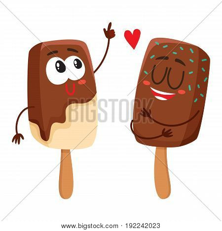 Two funny ice cream popsicle characters having fun together, cartoon style vector illustration isolated on white background. Couple of cute smiling ice cream on sticks with chocolate glaze