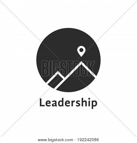 simple black leadership icon with pin. concept of travel, mountaineering, mission, climb, summit, hiking. isolated on white background. flat style trend modern brand design vector illustration