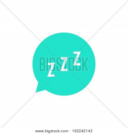 snoring sign in green speech bubble. concept of sleeping, insomnia, alarm clock app, deep sleep, awakening. isolated on white background. flat style trend modern logotype design vector illustration