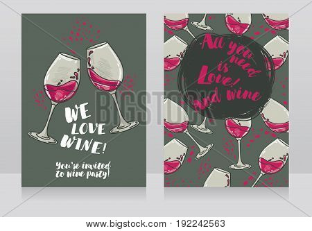Two posters for wine party, can be used as menu cover for wine bar, vector illustration