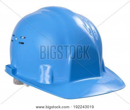 Blue helmet isolated on white background isolated on white background