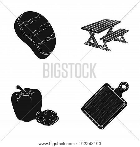 Fried steak, table with a bench for relaxation, sweet pepper, cutting board.BBQ set collection icons in black style vector symbol stock illustration .