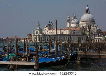 Beautiful view of traditional Gondolas on Canal Grande with historic Basilica di Santa Maria della Salute in the background on a summer day in Venice