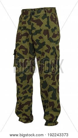 Camouflage trousers with multifunctional pockets isolated on white