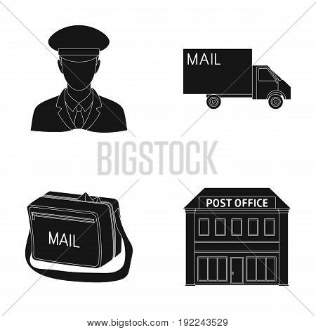 The postman in uniform, mail machine, bag for correspondence, postal office.Mail and postman set collection icons in black style vector symbol stock illustration .