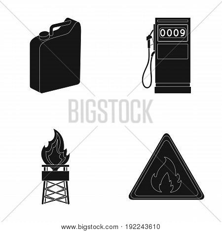 Canister for gasoline, gas station, tower, warning sign. Oil set collection icons in black style vector symbol stock illustration .