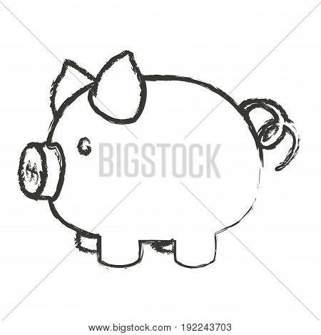 monochrome blurred silhouette of piggy bank vector illustration