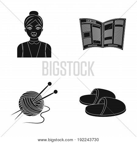 An elderly woman, slippers, a newspaper, knitting.Old age set collection icons in black style vector symbol stock illustration .