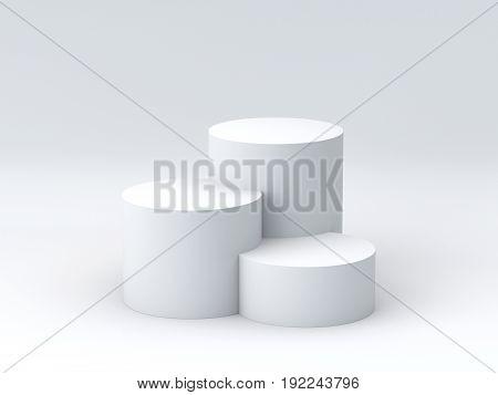 Empty podium on white background. 3D rendering.