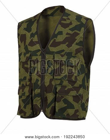 Multi pocket camouflage vest with hoad isolated on white background