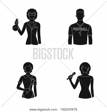 Woman chemist, football player, hotel maid, singer, presenter.Profession set collection icons in black style vector symbol stock illustration .