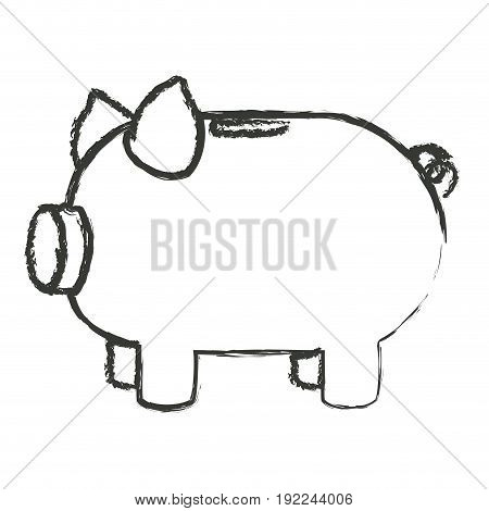 monochrome blurred silhouette of moneybox in shape of pig vector illustration