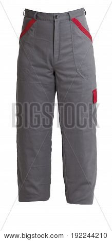 Protective work grey trousers isolated on white background
