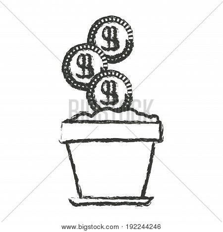 monochrome blurred silhouette of flower pot with set of coins vector illustration