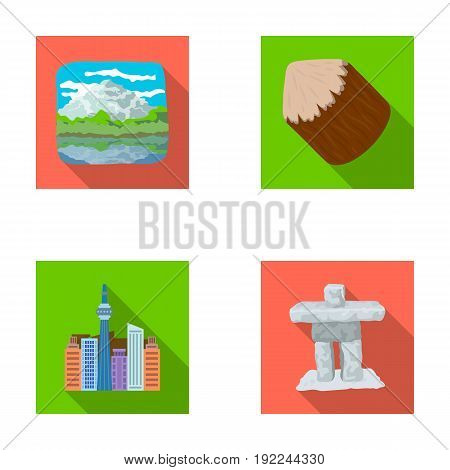 Lakes, mountains, the tower of SI-EN and other symbols of Canada.Canada set collection icons in flat style vector symbol stock illustration .