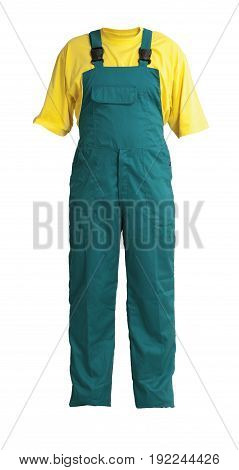 Protective workers green trou and buckles with yellow t-shirt isolated on white