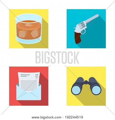 A glass of whiskey, a gun, binoculars, a letter in an envelope.Detective set collection icons in flat style vector symbol stock illustration .