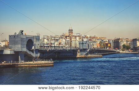 ISTANBUL TURKEY - APRIL 28 2017: Istanbul cityscape with Galata bridge and Galata Tower 14th-century city landmark in the middle
