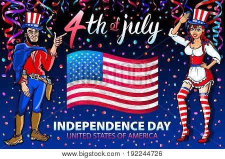 Illustration Of A Girl And Men Celebrating Independence Day Vector Poster. 4Th Of July Lettering. Am