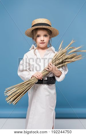 Adorable Little Girl In Dress And Straw Boater Holding Wheat Ears And Looking At Camera